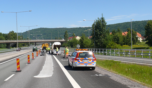 The ground surface completed test on the section of the E4 highway around Huskvarna.