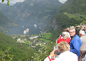The Geirangerfjord in the south-western part of Norway has a breathtaking view.
