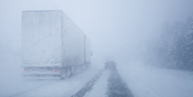 Extreme weather on a winter road
