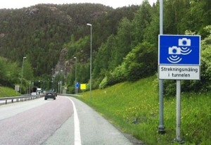 Road sign of section cameras