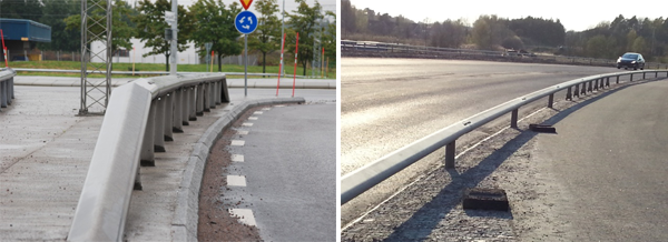 Same type of guardrail, installed in two different ways