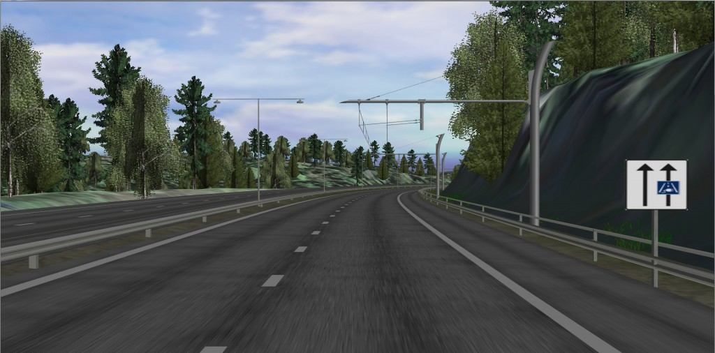 The simulated electric road between Gothenburg and Mölnlycke. The road environment has been supplemented with signs, guardrails, etc. The transmission poles are based on a design from Siemens.