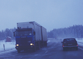 Image showing typical winter driving conditions on Finnish main road