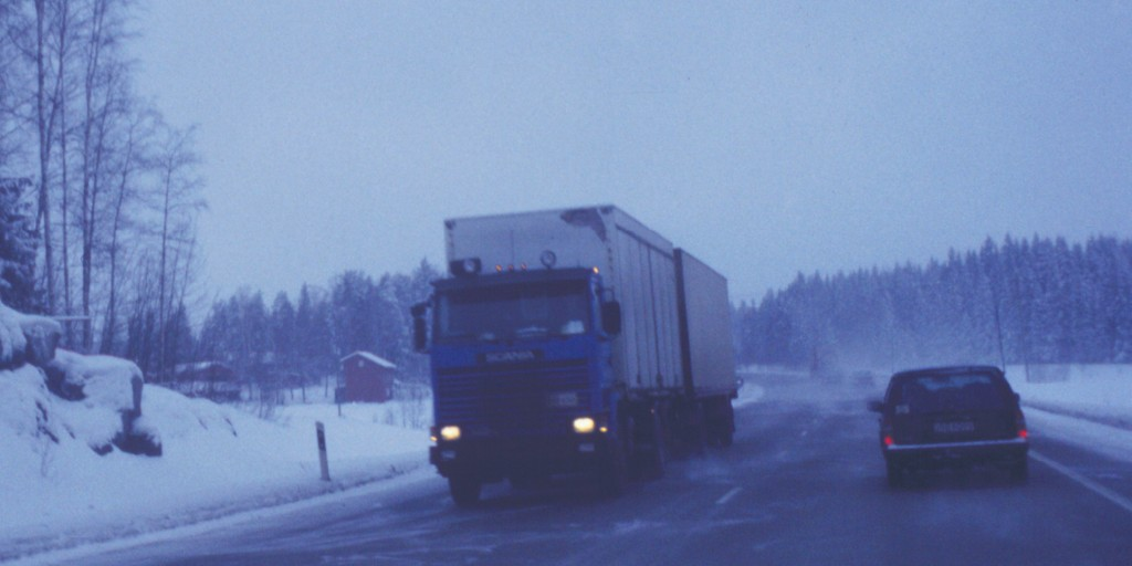 Image showing typical winter driving conditions on Finnish main road. Photo: VTT.