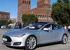 EV parked on a square