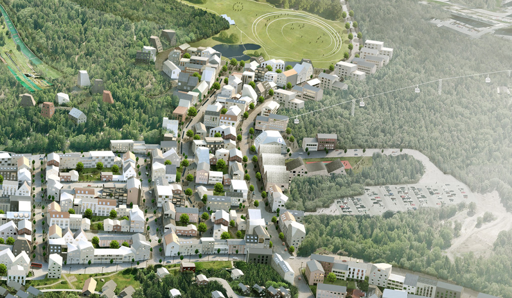 Artist's rendition of cableway from Sollentuna Municipality.