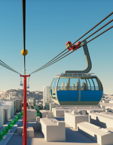 Artist's renditions of cableway from the City of Gothenburg.