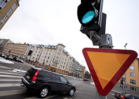 Traffic lights at intersection