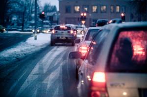 City traffic in winter