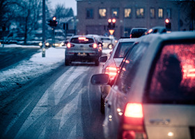 City traffic in winter