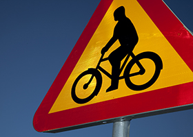 Sign with bicycle