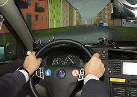 Driving in simulator