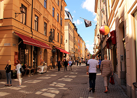Street with people in Stockholm