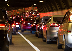 Traffic jam in a road tunnel.