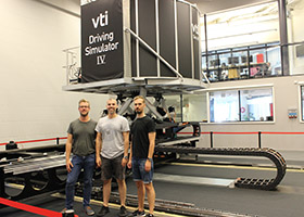 Road simulator and staff at VTI in Gothenburg, Sweden
