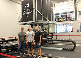 Road simulator and staff at VTI in Gothenburg, Sweden
