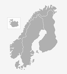 Map of the Nordic countries.